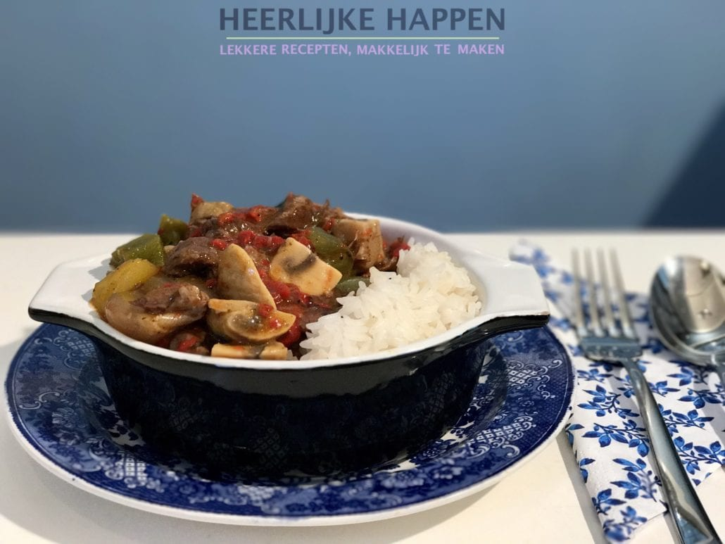 gegrilde paprika stoofpot met rijst