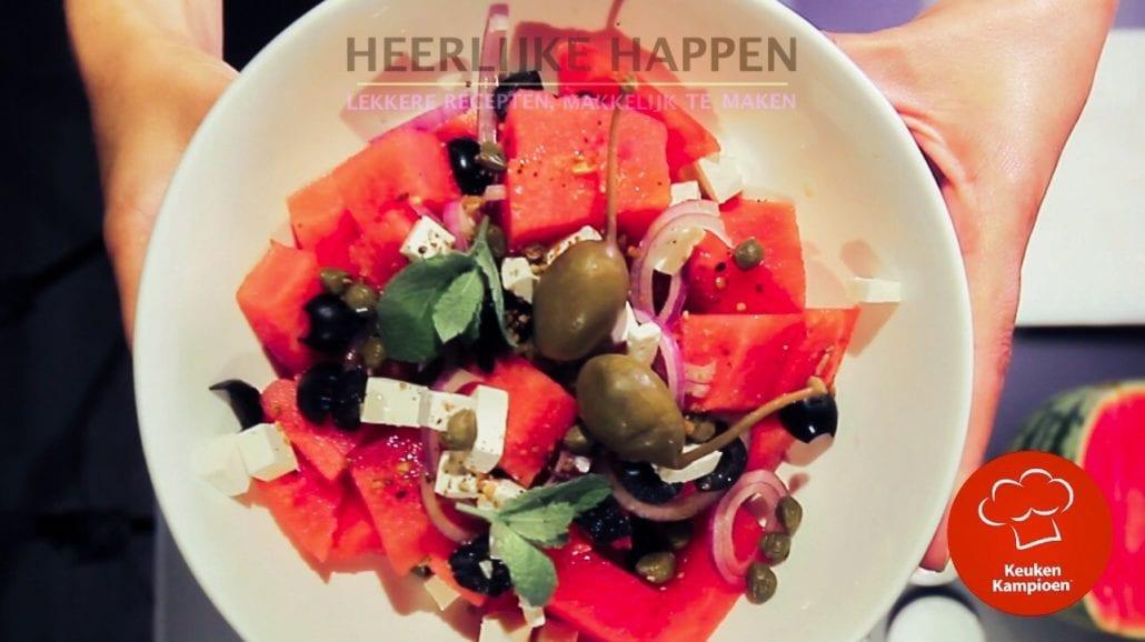 Zomerse watermeloen salade