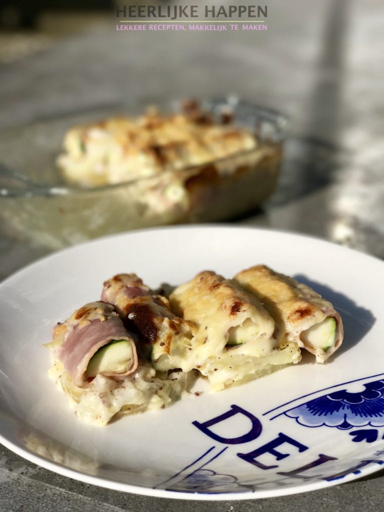 courgette rolletjes met ham en kaassaus