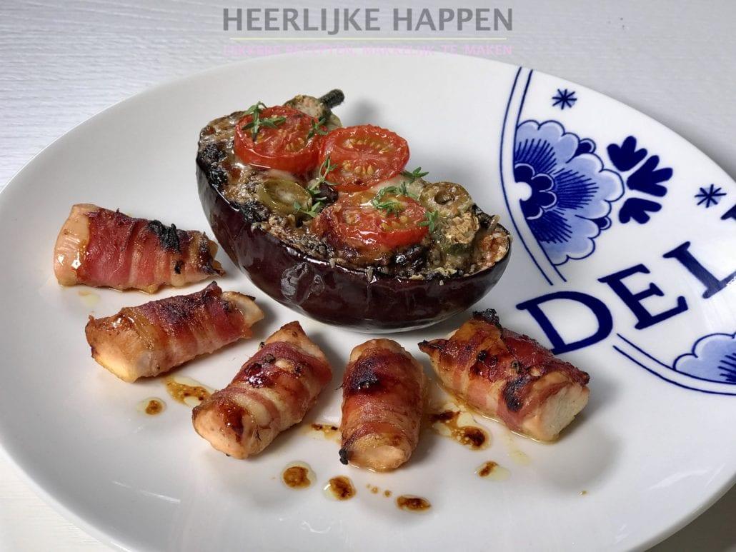 Gegrilde aubergine met bacon-kip