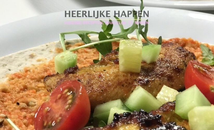 Wrap met gegrilde paprika hummus