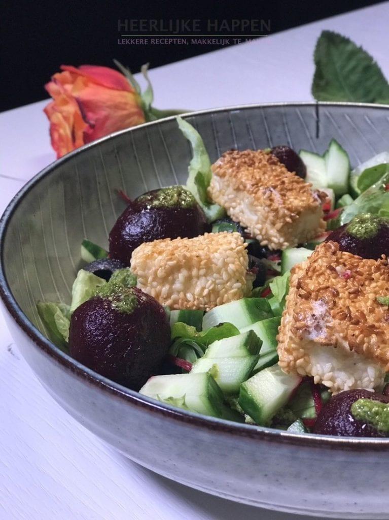 Bietjes salade met brie croustillants