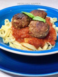 Chorizo gehaktbal met verse pasta