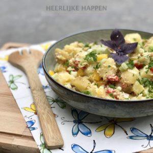 aardappel kikkererwt hummussalade