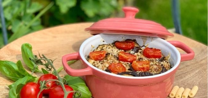 Pesto fusilli met aubergine uit de oven