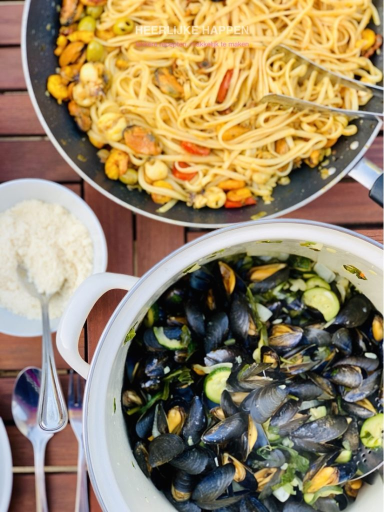 linguine aglio olio met mosseltjes