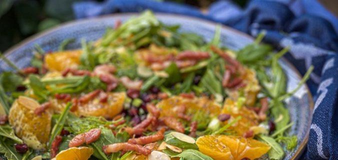 Minneola salade met uitgebakken spekjes