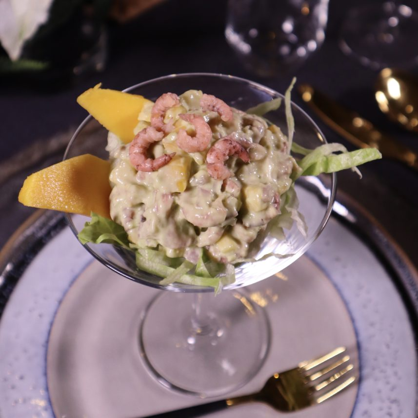 Hollandse garnalencocktail in avocadodressing