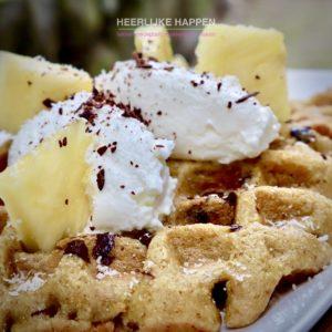 Ananas kokoswafels met Griekse yoghurt
