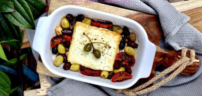 gebakken feta met knoflook olijven
